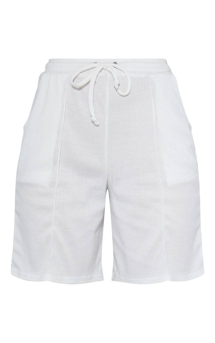Cream Rib Seam Front Longline Shorts 6