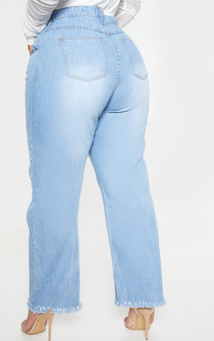 Plus Light Wash Straight Leg Frayed Hem Jean  4