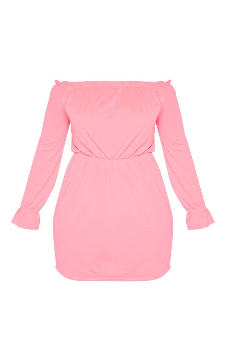 Plus Neon Pink Bardot Frill Detail Shift Dress 3