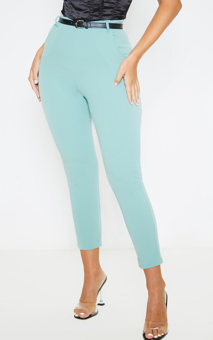 Dusty Turquoise Belted Cropped Pants 2