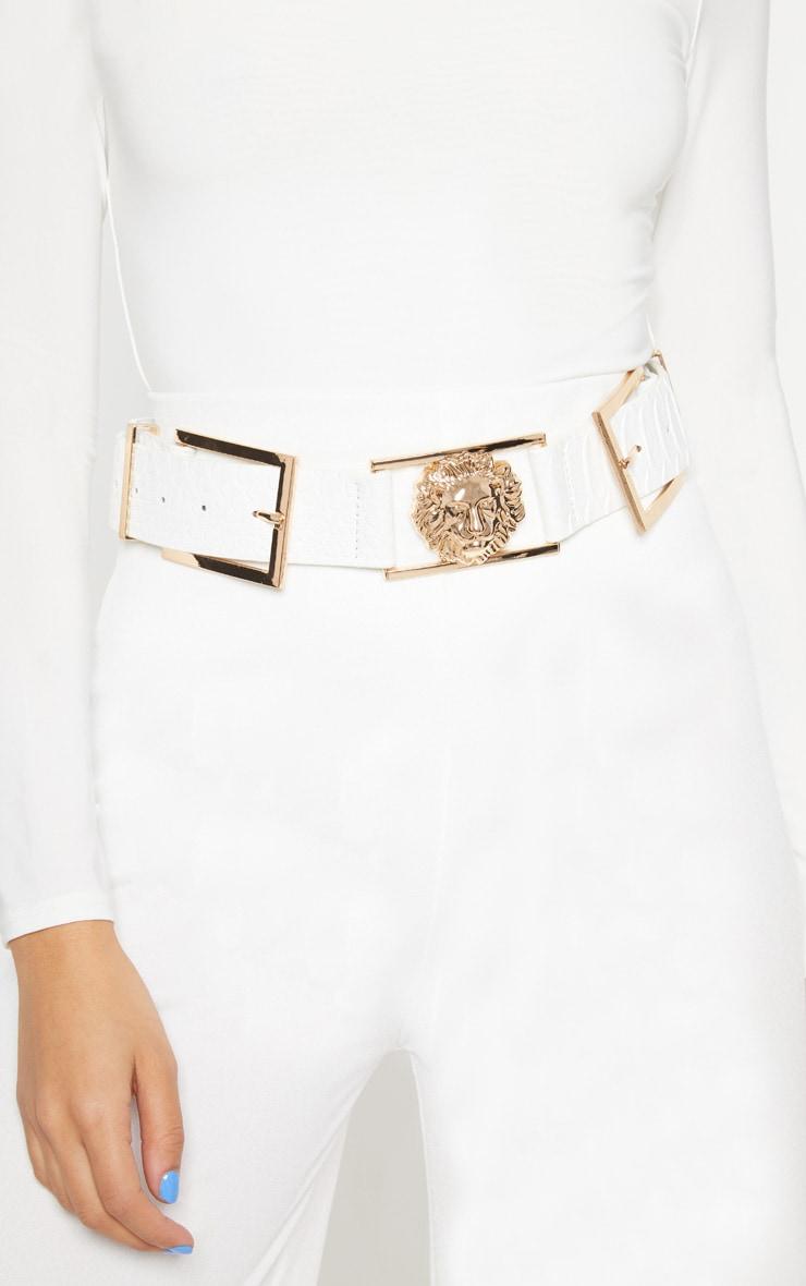 White Croc Lion Buckle Detail Belt 3