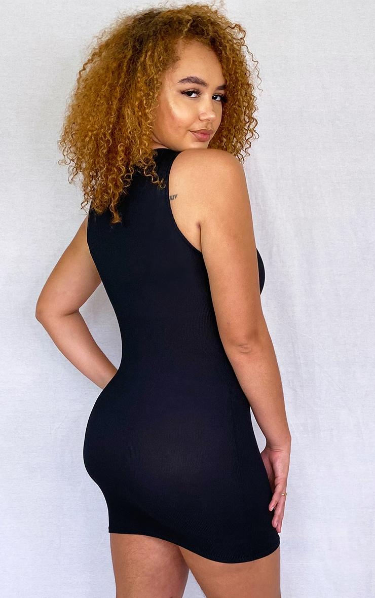Plus Basic Black Ribbed Underbust Detail Bodycon Dress 2