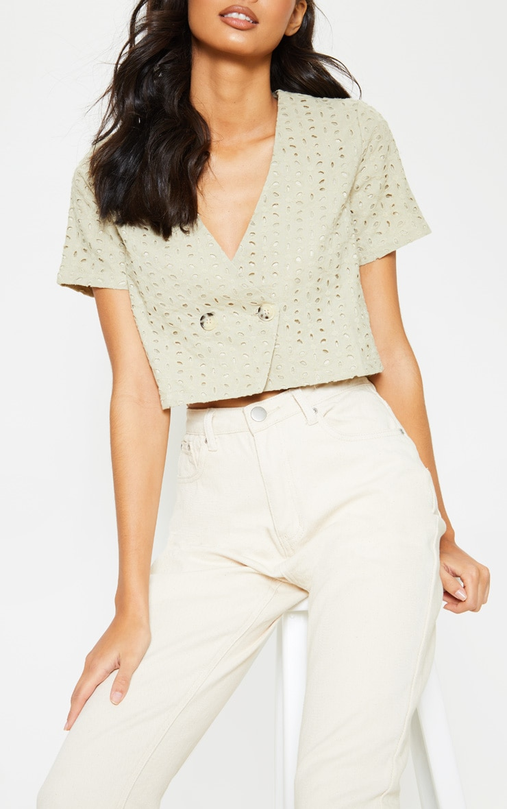 Stone Broderie Anglaise Button Front Short Sleeve Top 5