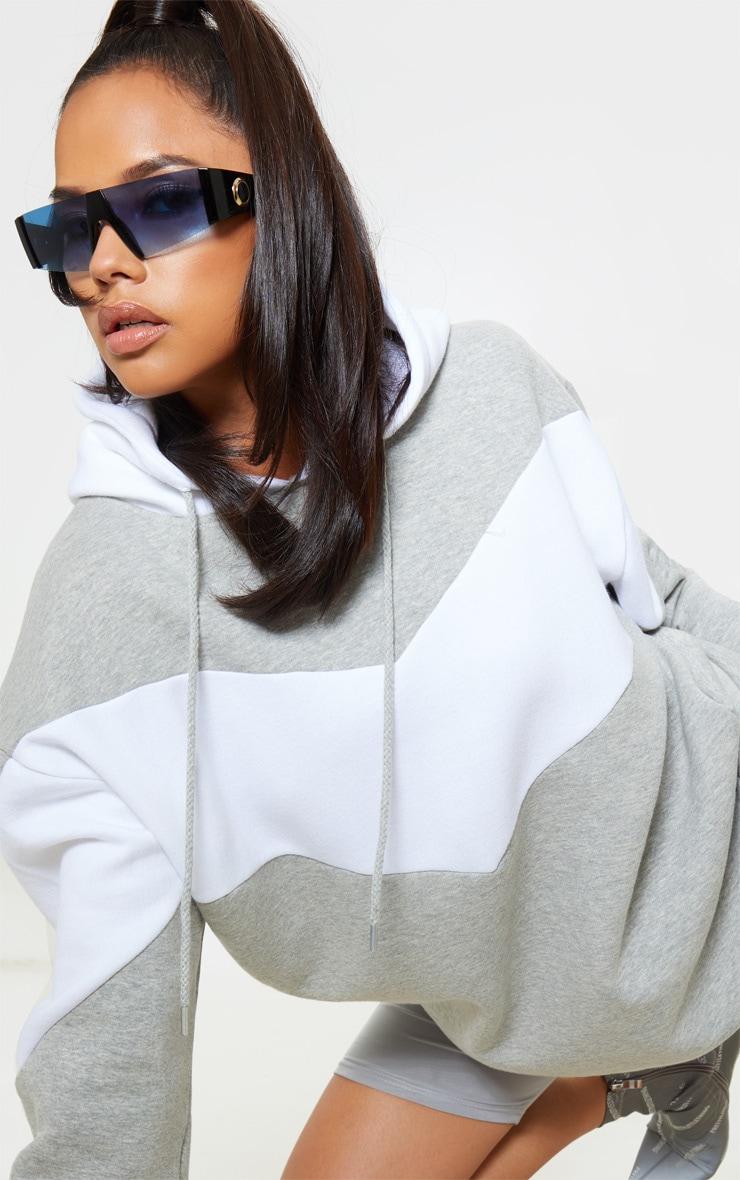 Grey Contrast Oversized Hoodie 5