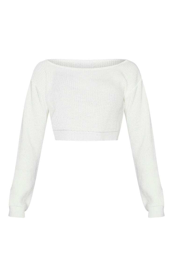 Tall Cream Off Shoulder Cropped Sweater 6