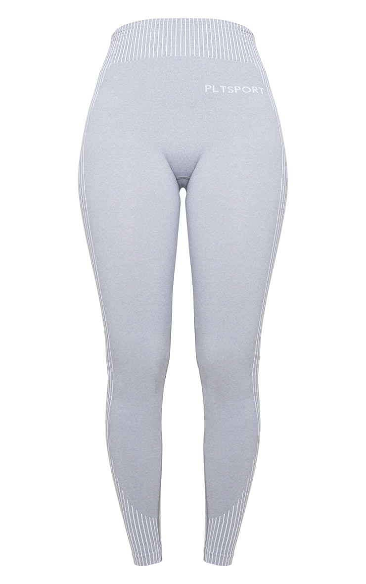 PRETTYLITTLETHING Sport Light Grey Seamless Contour Leggings 5