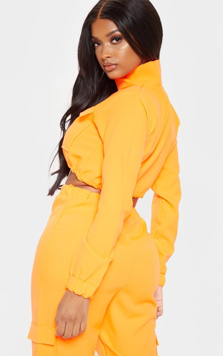 Shape Neon Orange Utility Zip Front Crop Top 2