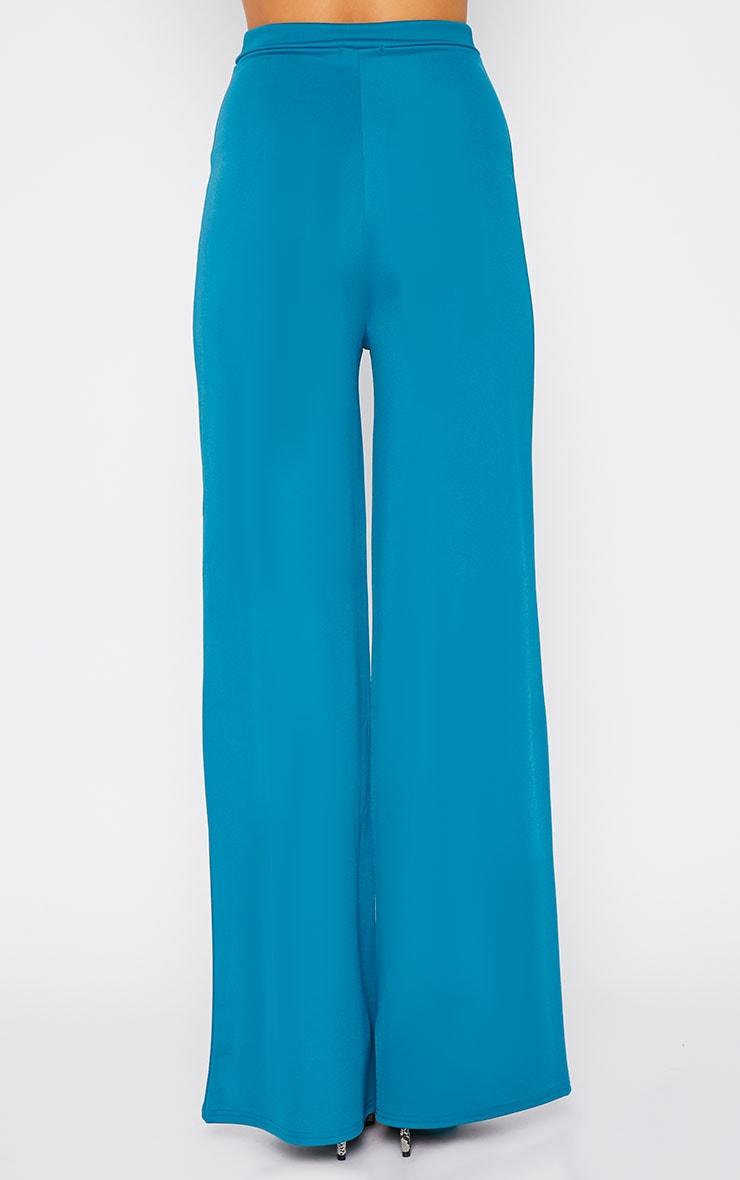 Zafia Teal Crepe Palazzo Trousers 3