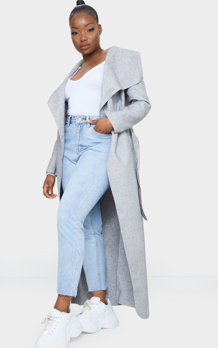 Petite Grey Maxi Length Oversized Waterfall Belted Coat 3