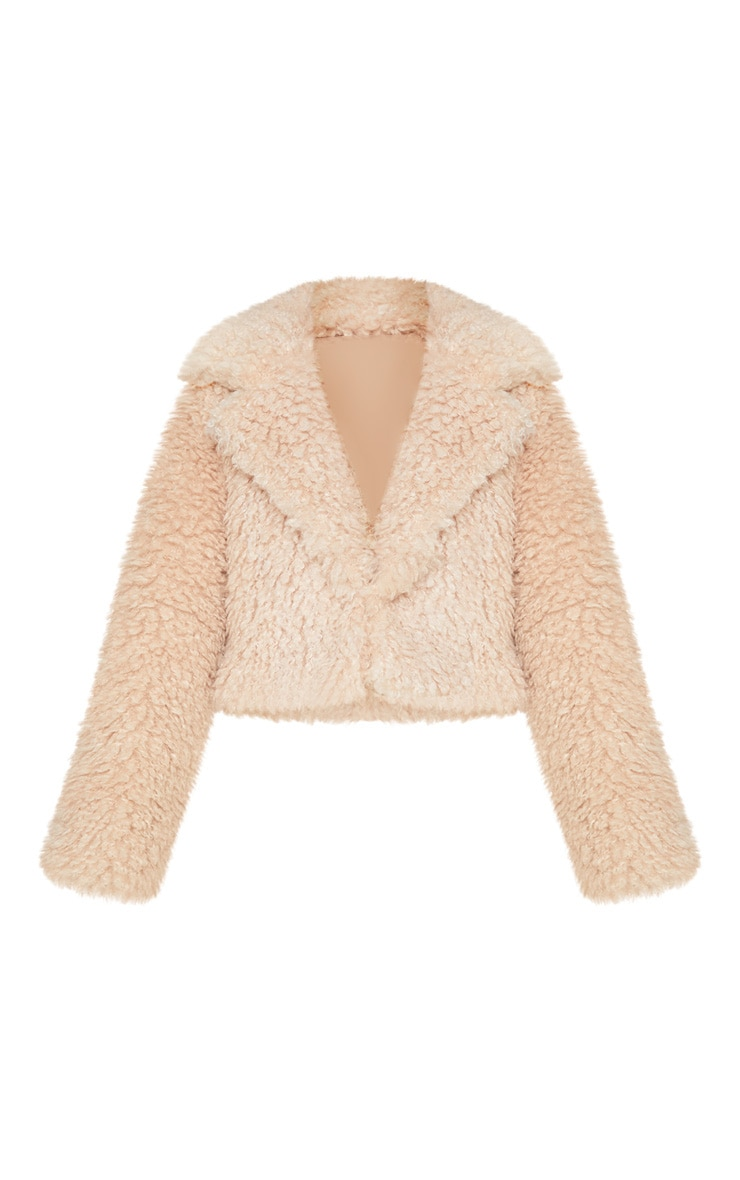 Stone Faux Sheepskin Cropped Jacket  3