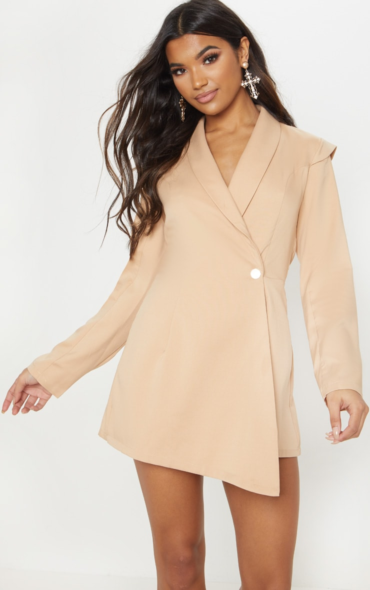 Nude Woven Blazer Playsuit