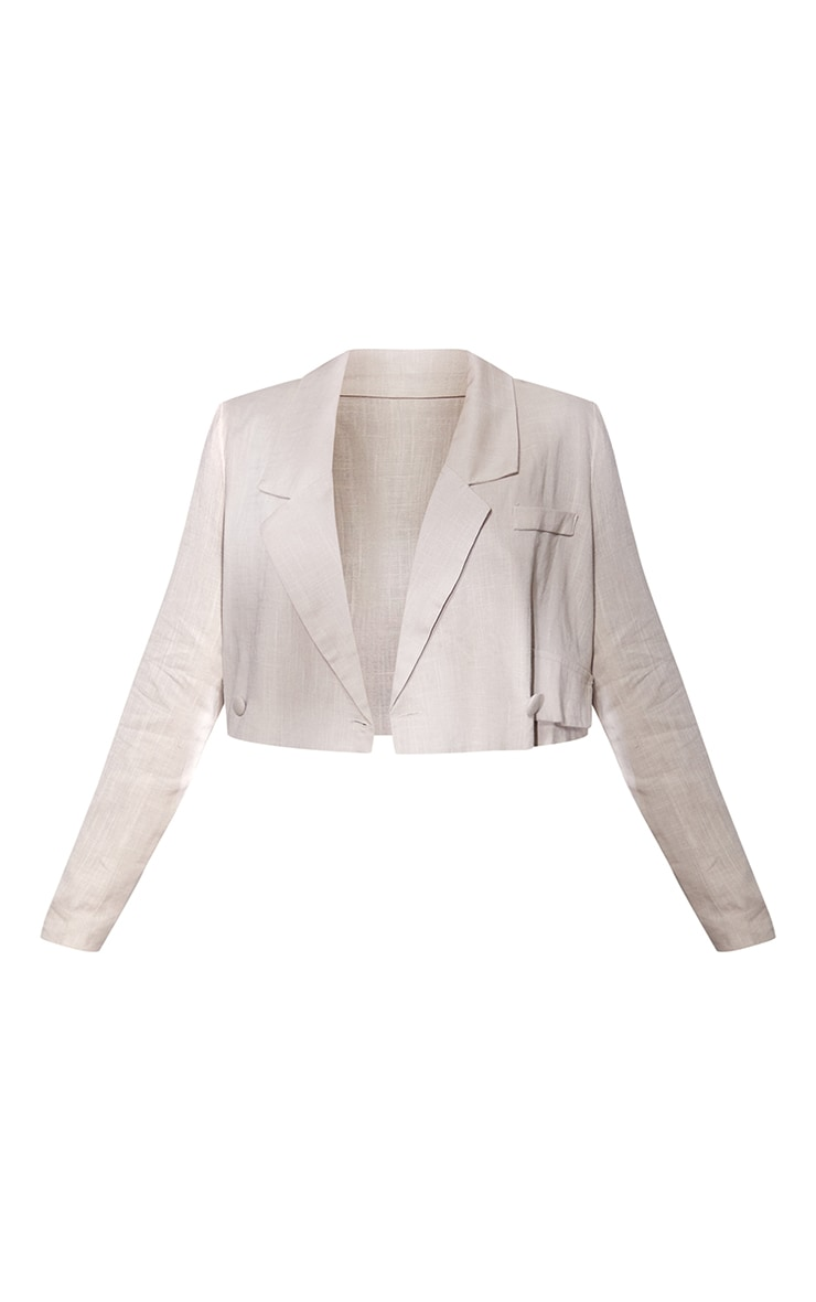 Petite Taupe Cropped Oversized Suit Blazer 5