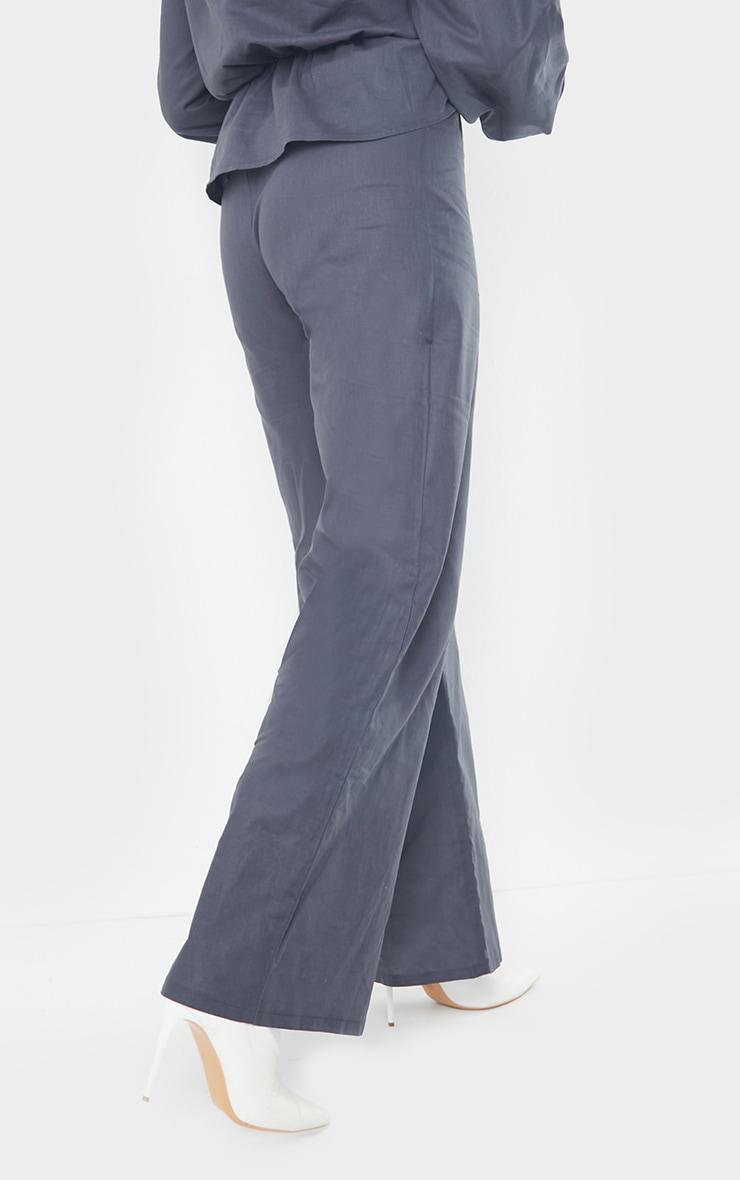 Navy Woven Wide Leg Trousers 3