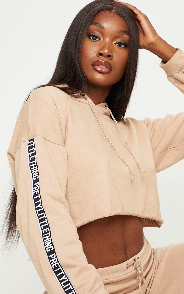 PRETTYLITTLETHING Tall Stone Cropped Hoodie 4