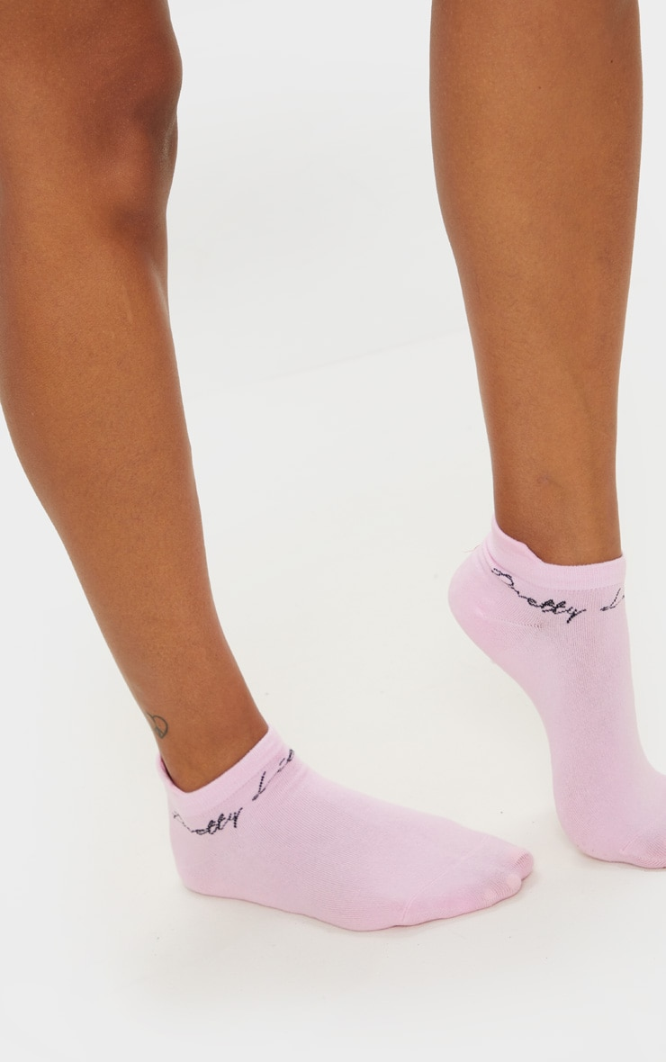 PRETTYLITTLETHING Pink Trainer Socks 3