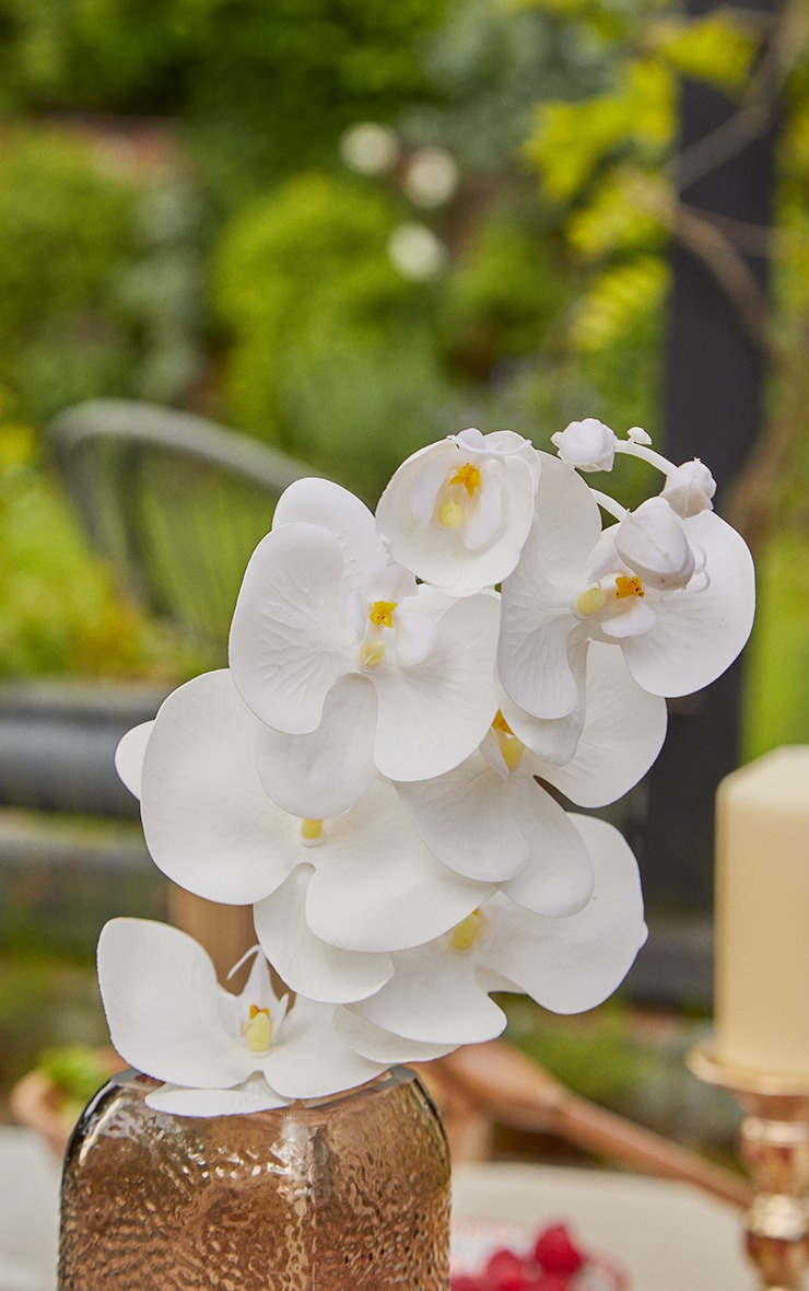 White 7 Head Orchid Stem Artificial Flower 2