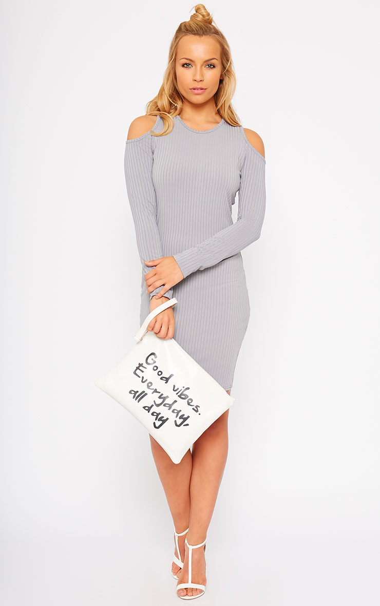 Tocarra Grey Rib Cut Out Shoulder Dress 3