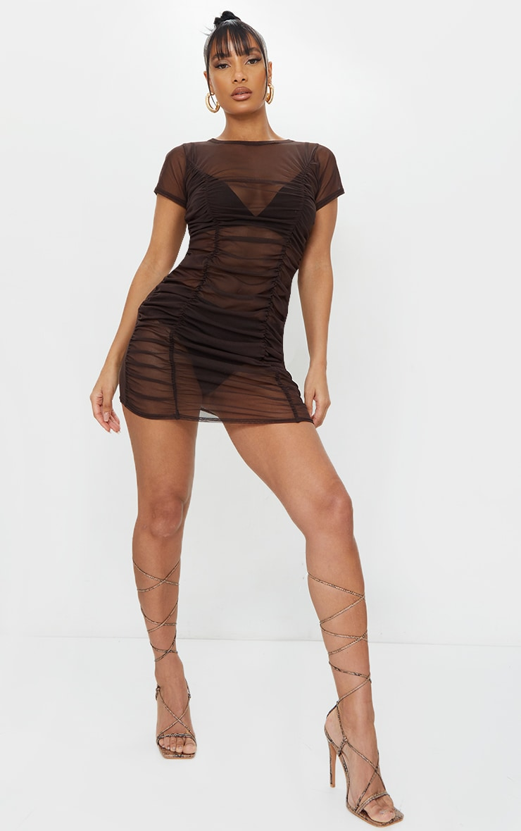 Chocolate Mesh Ruched Short Sleeve Bodycon Dress 1