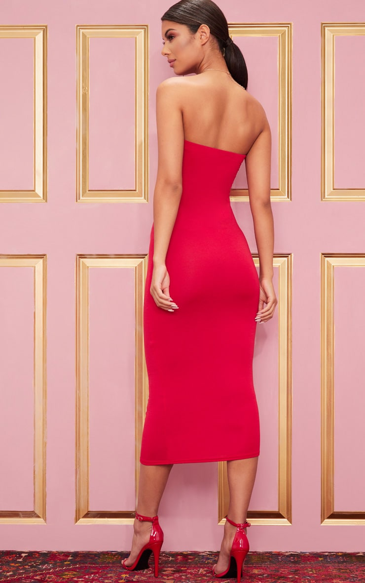Basic Red Bandeau Midaxi Dress 2