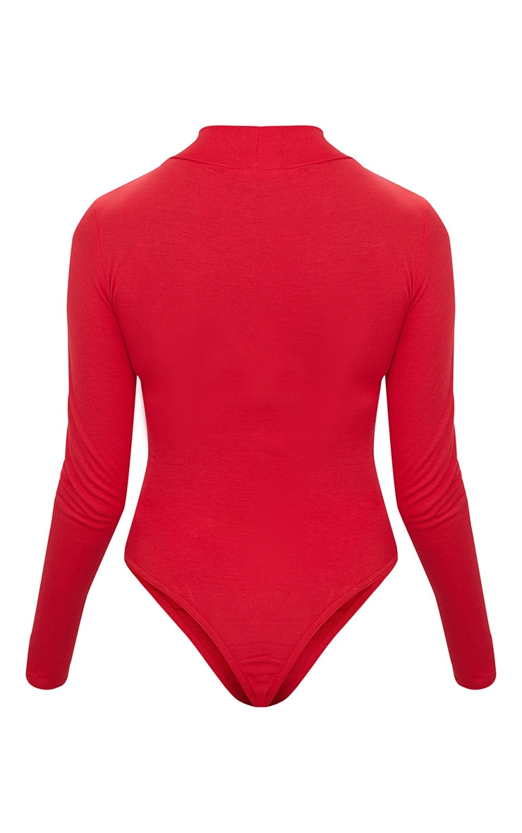 Petite Red Basic High Neck Bodysuit 4