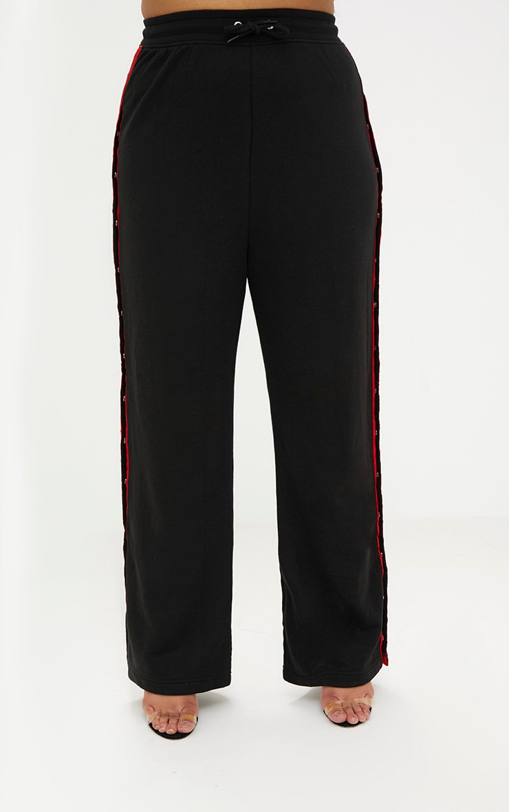 Plus Black Popper Side Joggers 2