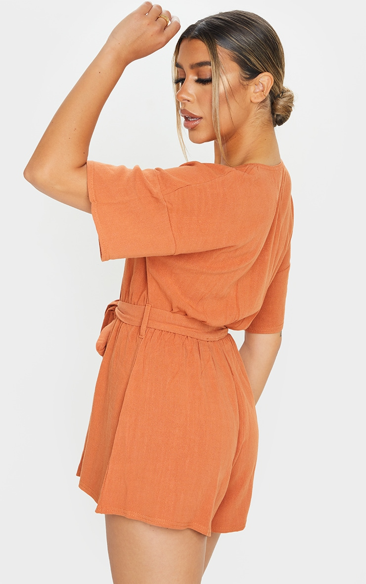 Rust Woven V Neck Short Sleeve Button Up Romper 2