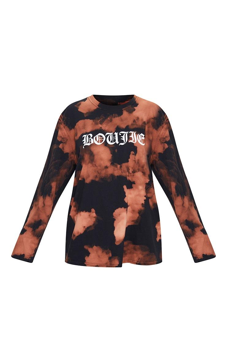 Orange Acid Wash Boujie Printed Long Sleeve T Shirt 5