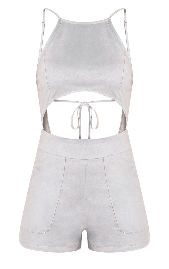 Adia Dusty Blue Suede Cut Out Playsuit 3