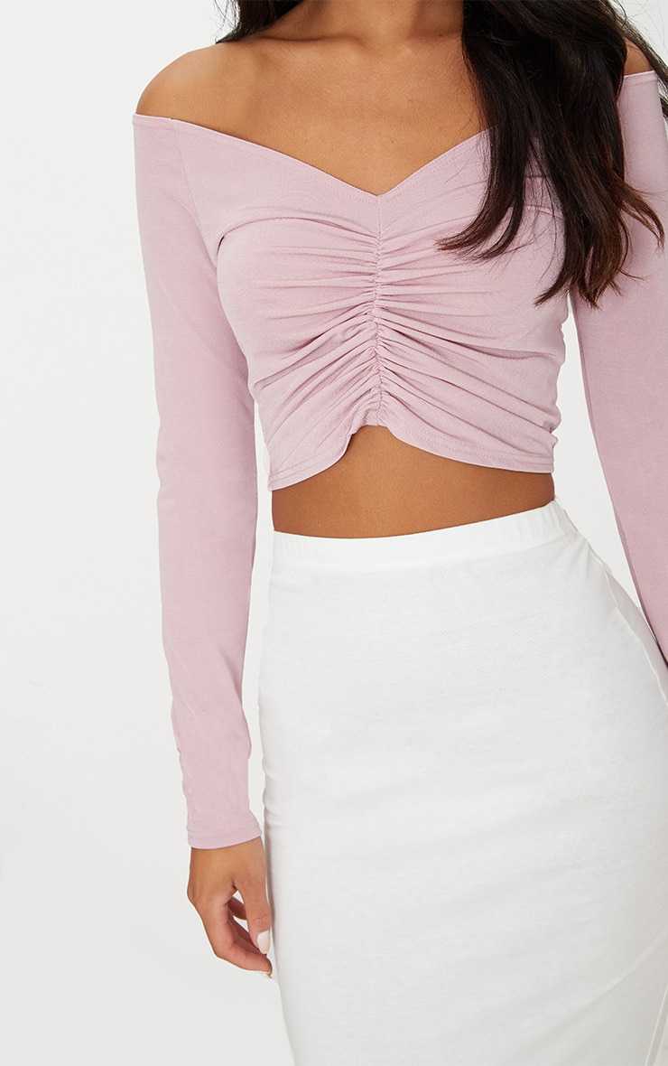 Dusty Pink Slinky Ruched Front Long Sleeve Crop Top 5