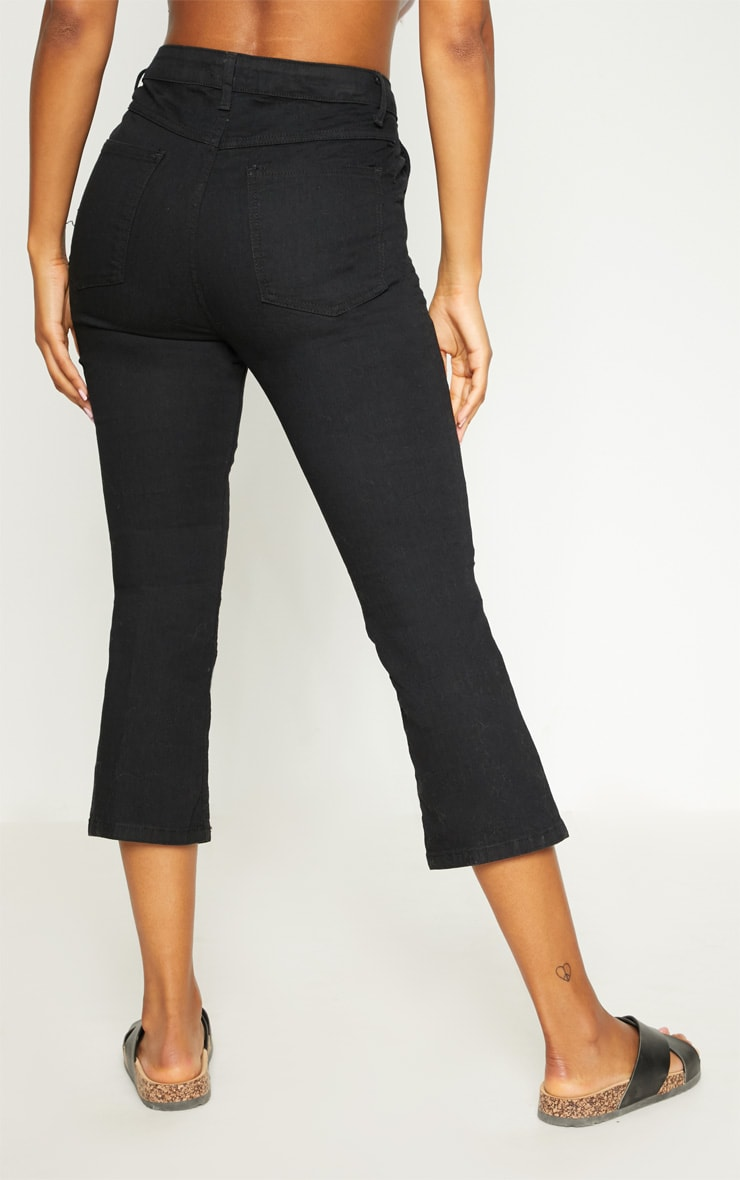 Black Centre Pleat Detail  Cropped Jeans 4