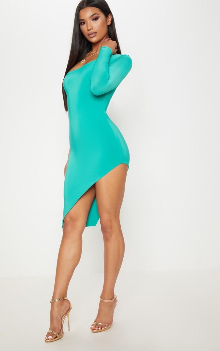 Turquoise One Shoulder Long Sleeve Exreme Split Dress 1