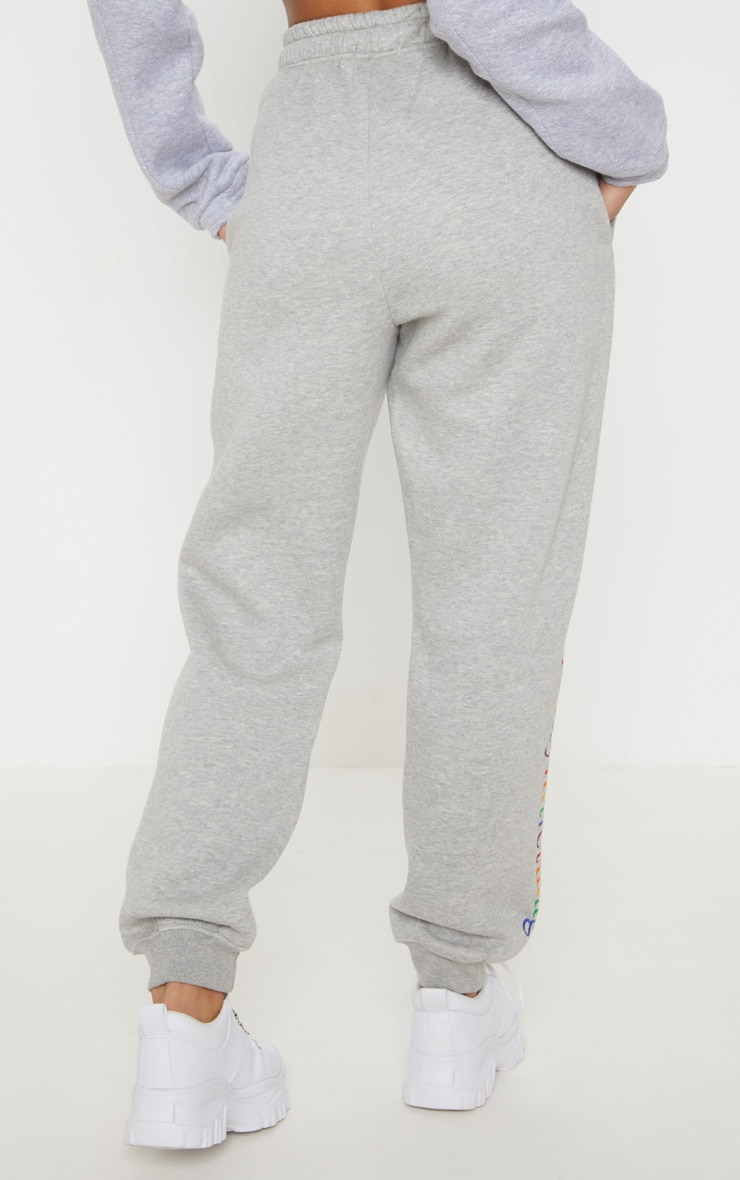 PRETTYLITTLETHING Grey Multi Embroidered Joggers  4