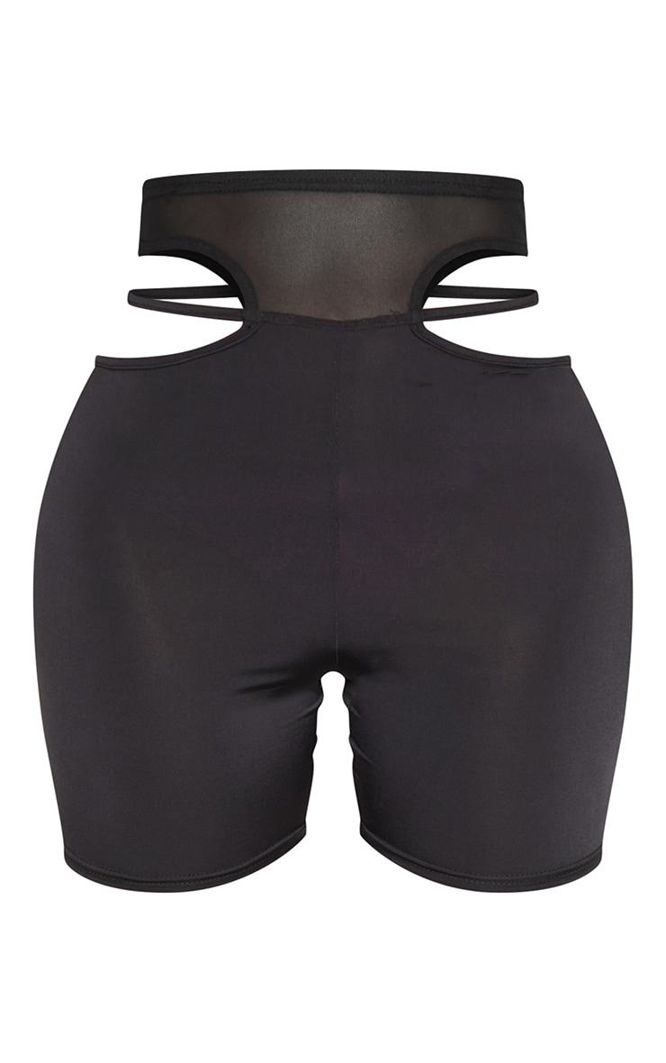 Shape Black Mesh Insert Cut Out Side Bike Shorts 6