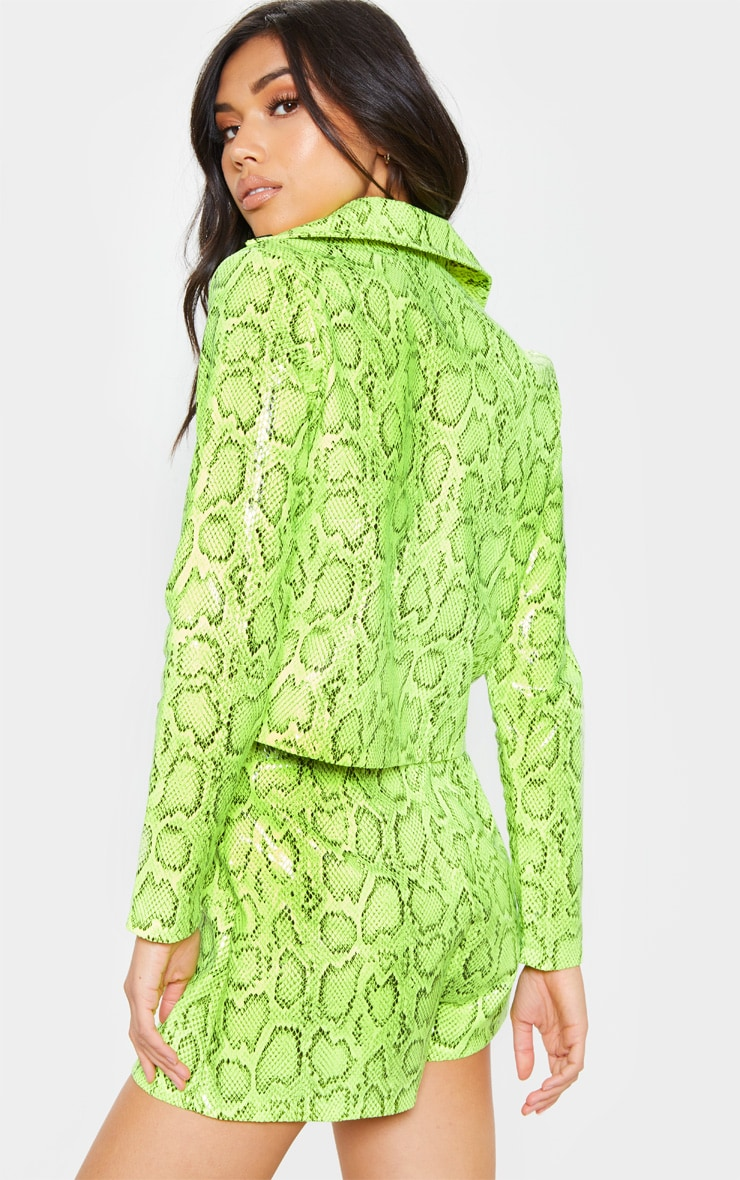 Neon Lime Faux Leather Snake Print Biker Jacket 2