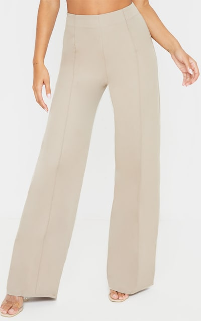 Taupe High Waisted Seam Detail Wide Leg Trouser