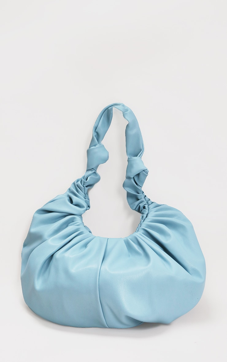 Baby Blue Large Ruched Shoulder Bag 1