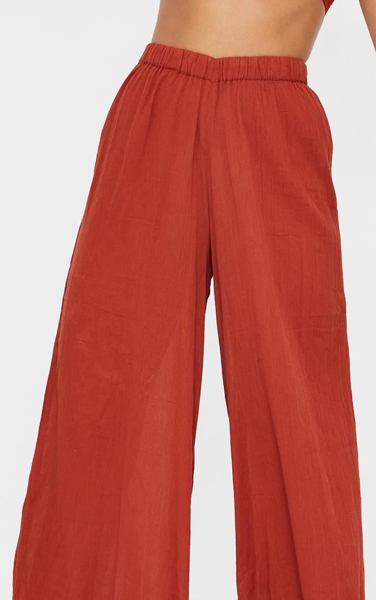 Brown Cotton Textured Wide Leg Beach Pants 4
