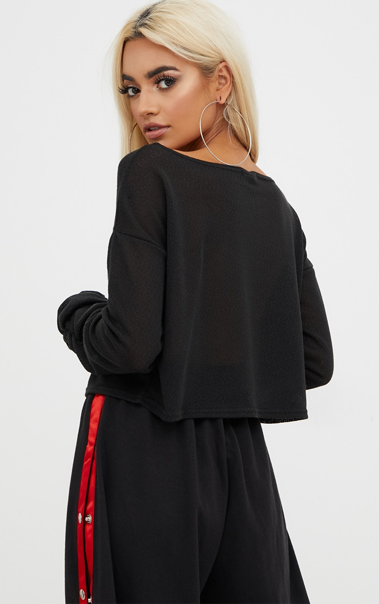 Black Lightweight Knit Ruched Sleeve Crop Top  2