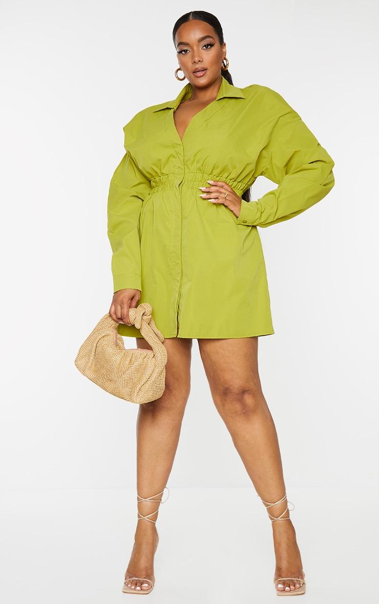 Plus Olive Oversized Ruched Waist Shirt Dress 1