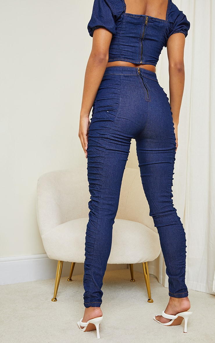 Dark Blue Wash Ruched Detail Jeans 3