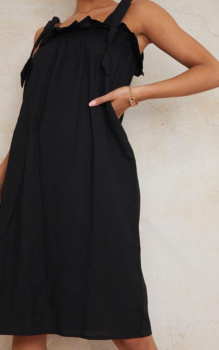 Black Linen Look Tie Strap Ruched Smock Midi Dress 4