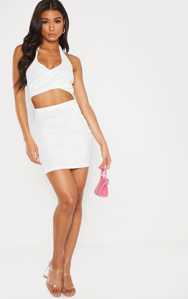Cream Bandage Rib Mini Skirt 4