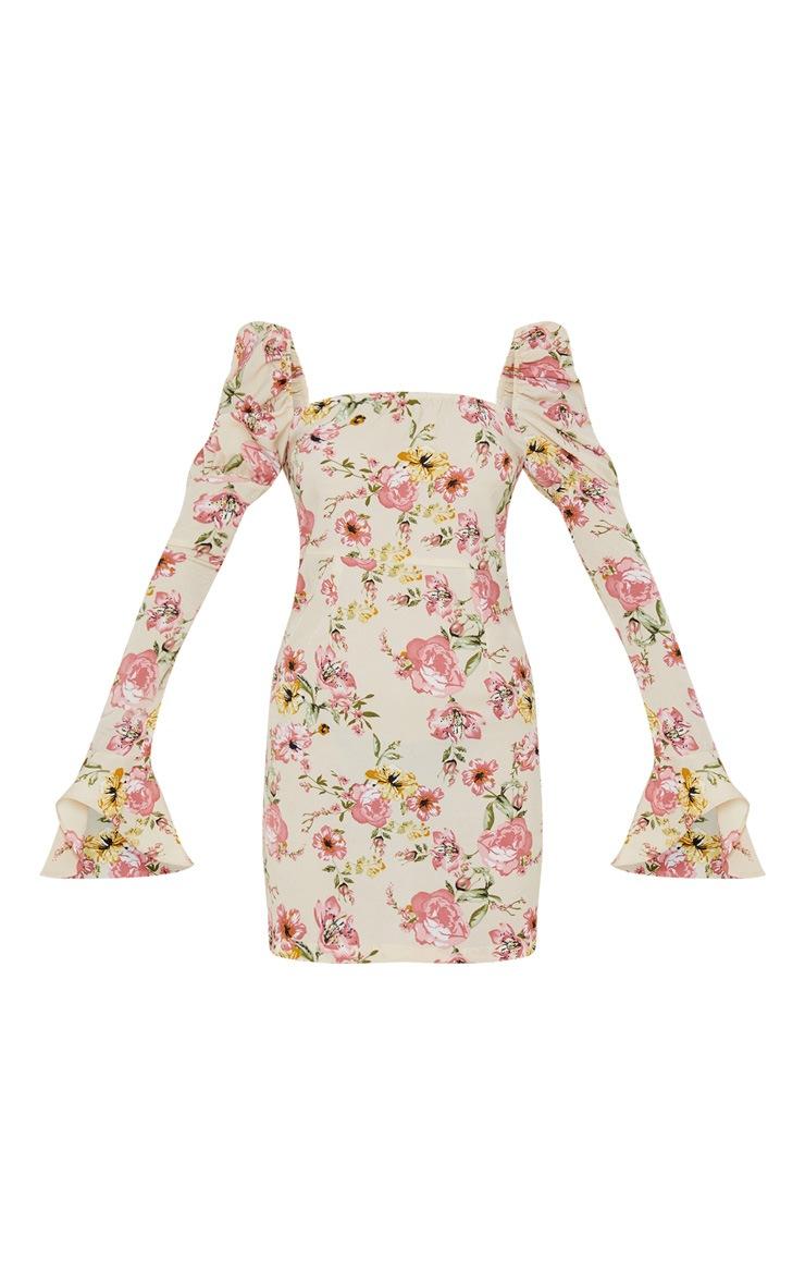 Beige Floral Print Puff Frill Sleeve Shift Dress 3