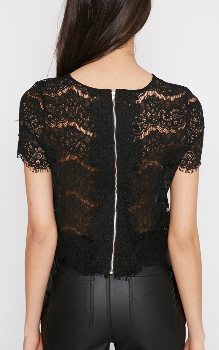 Ninette Black Lace Crop Top  2