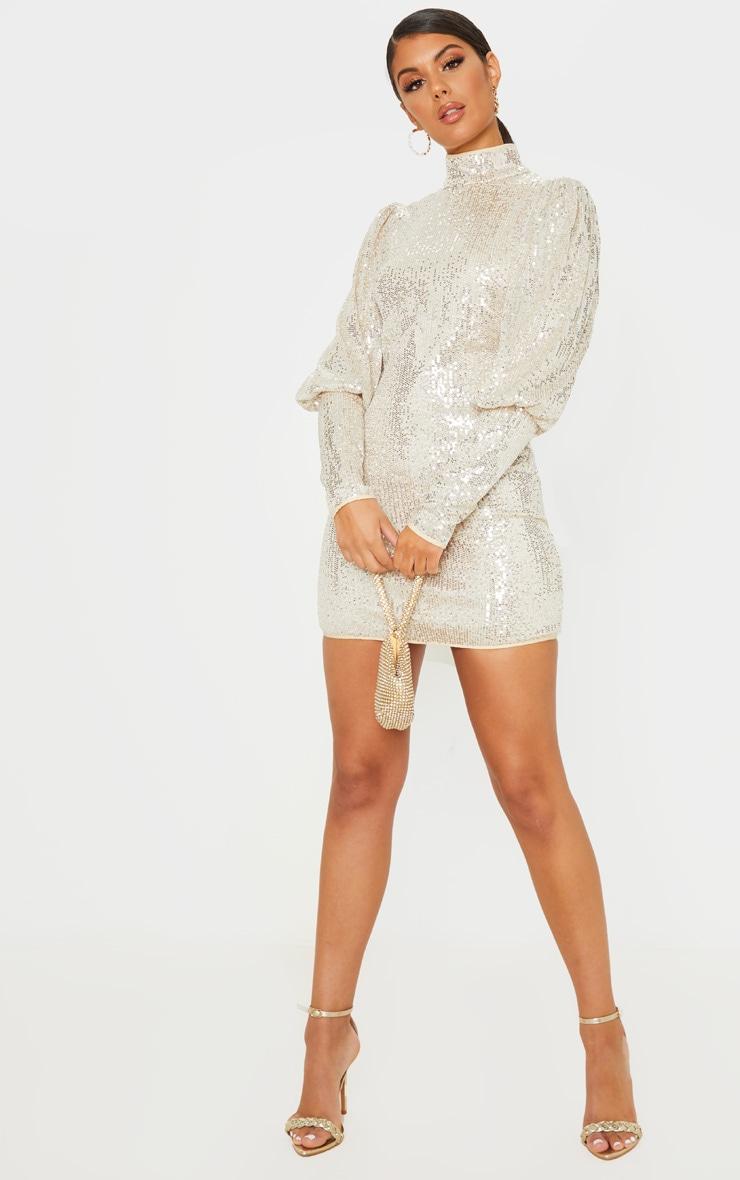Silver Sequin Puff Sleeve Bodycon Dress 4