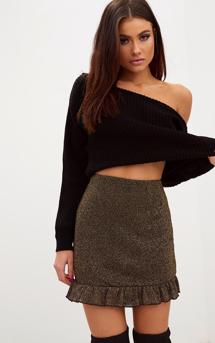 Gold Glitter Frill Hem Mini Skirt 1