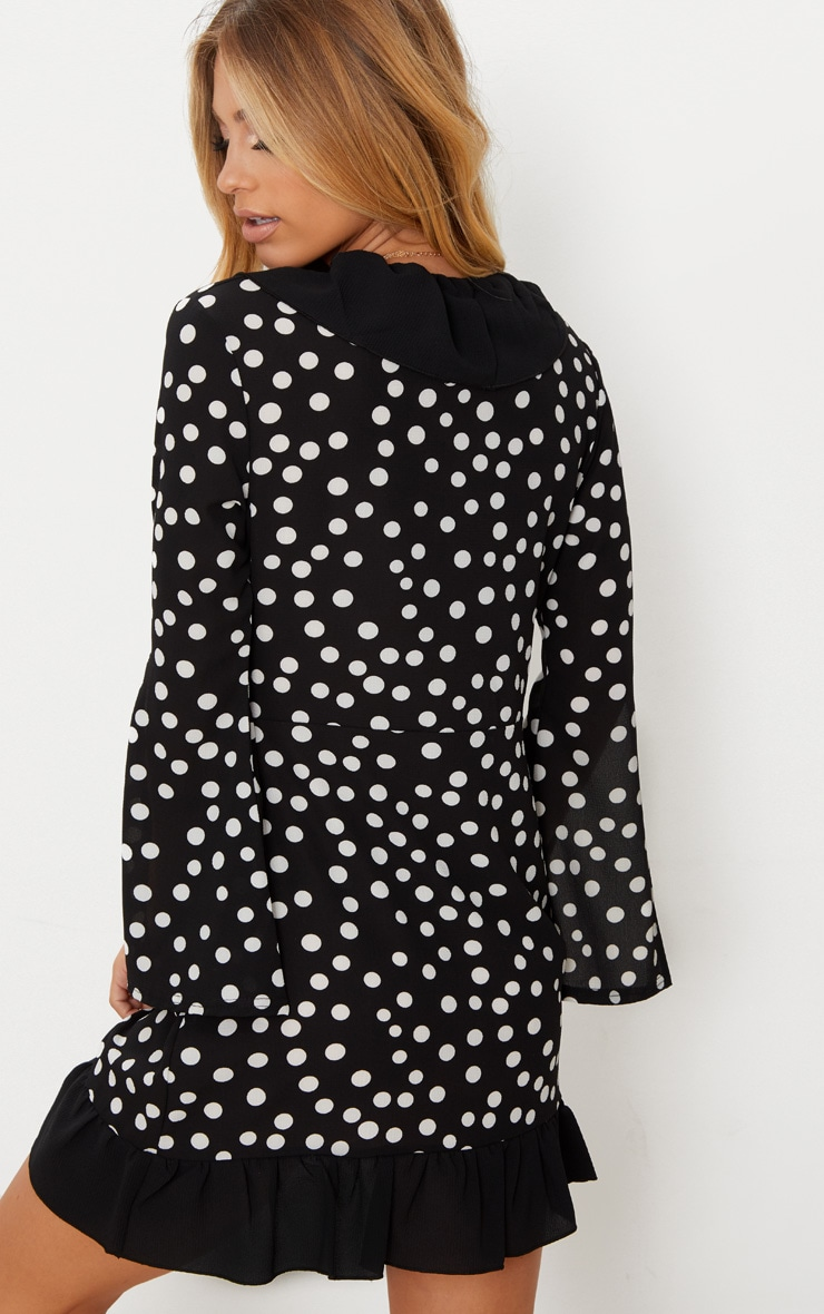 Black Polka Dot Flare Sleeve Frill Detail Tea Dress 2