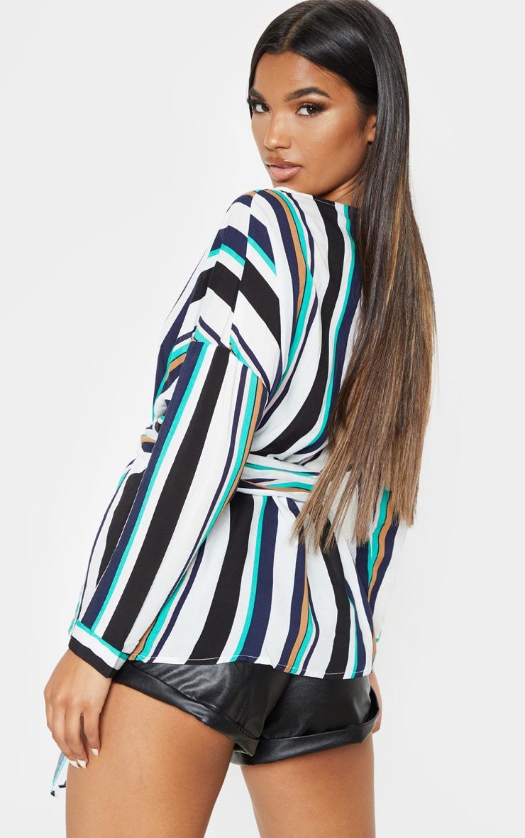 Navy Bold Stripe Tie Waist Blouse 1