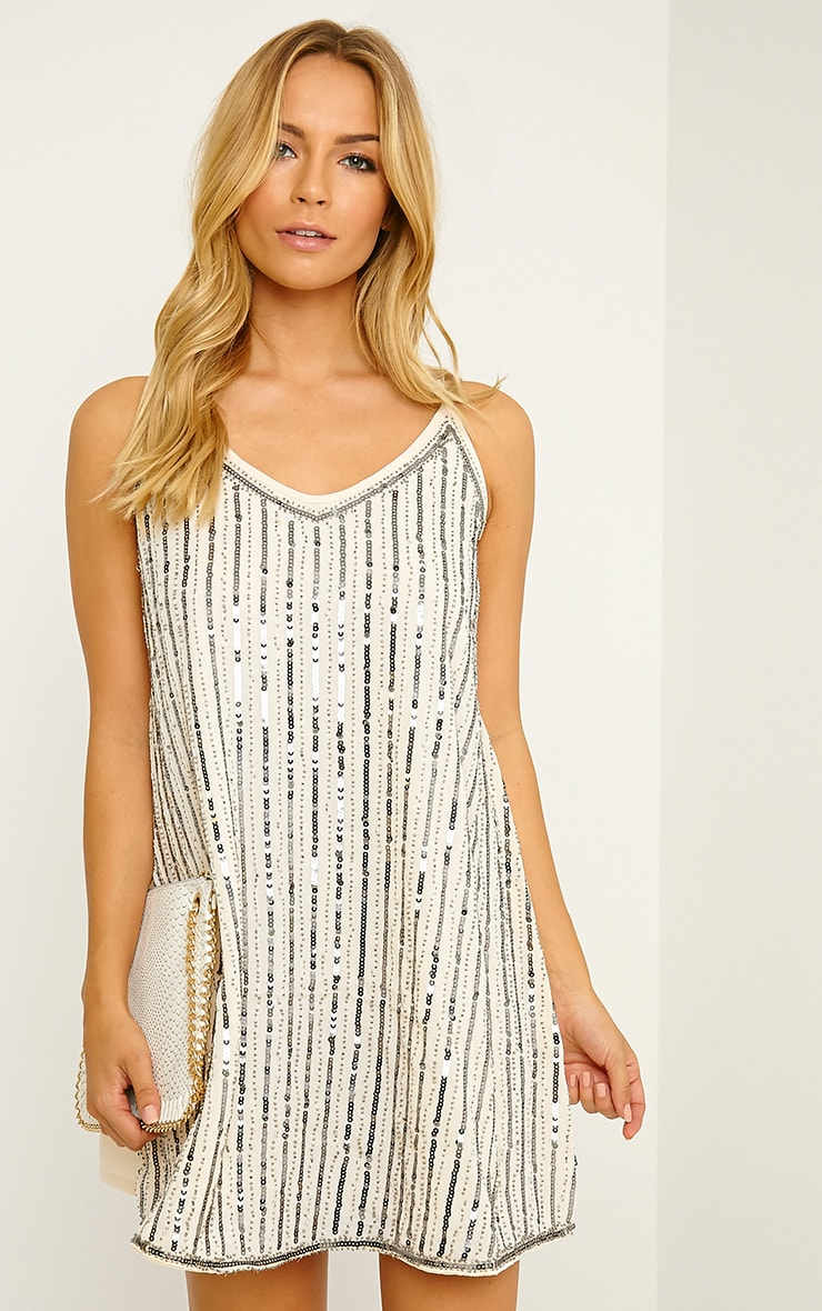 Adelaide Cream Sequin Strappy Shift Dress 1