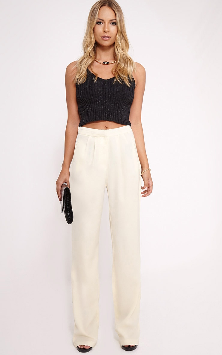 Olive Cream Loose Fit Trousers 1